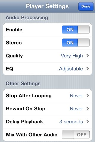 Amaizng Slow Downer iPhone Player settings